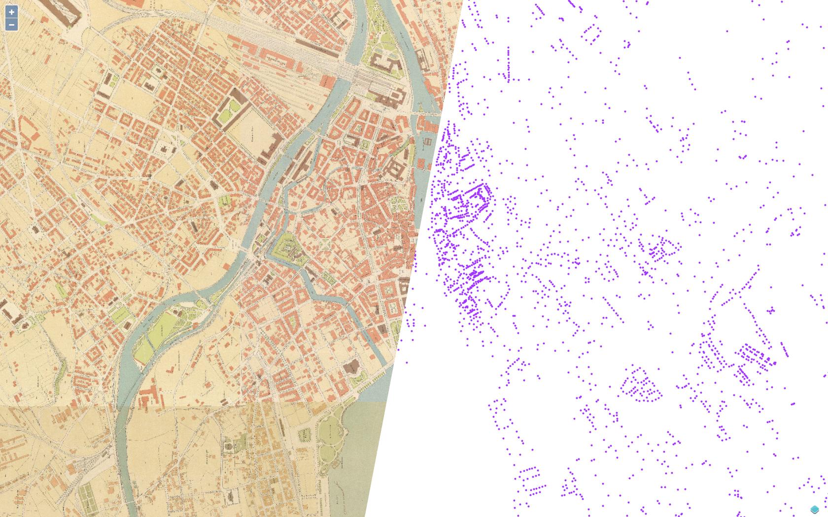 Die beiden Layer: Stadtplan 1900 und Denkmalschutzobjekte als Punkte.
