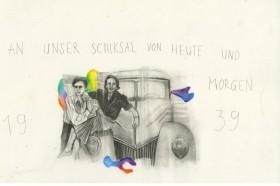 Ankauf 2017: Marc Bauer, «Untitled (Annemarie und Ella on car 1939», 2017, Bleistift und Buntstift auf Papier, 35 x 48 cm (Rahmen).