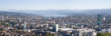 View from Waid over the city of Zurich, the lake and the Alpes