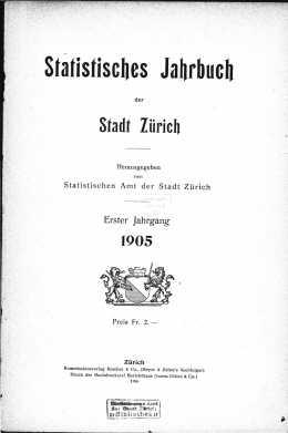 Statistisches Jahrbuch der Stadt Zürich 1905 (E-Paper)