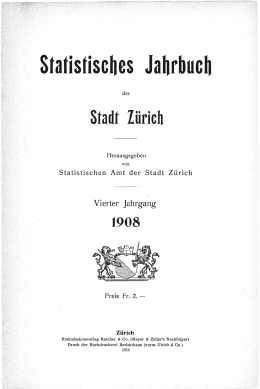 Statistisches Jahrbuch der Stadt Zürich 1908 (E-Paper)